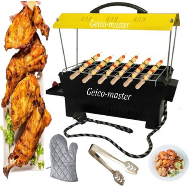 Geico master Electric & Charcoal Barbecue and Barbeque Grill & tandoor Stand for Home, Outdoor Picnic Camping and Traveling-Yellow Electric Grill with 6 wooden handle skewers (big) Electric Tandoor