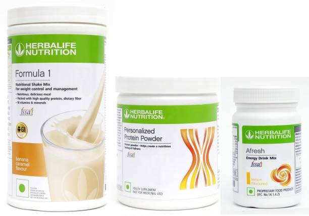 HERBALIFE Formula 1 Nutritional Shake Mix - Banana Caramel Flavor with Protein Powder 200g & Afresh Energy Drink Mix - Lemon Flavor Combo
