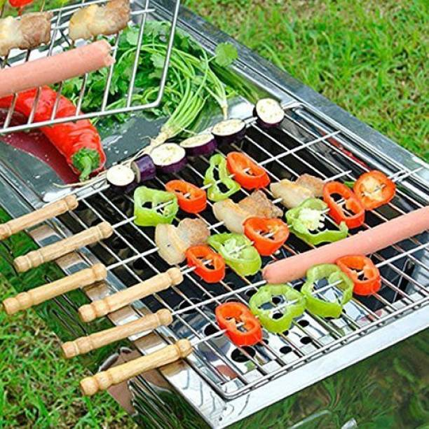 SEAVOKES BBQ Tandoor, Grill   Stainless Steel Stick with Wooden Handle, Pack of 12 Disposable Wooden, Stainless Steel Roast Fork