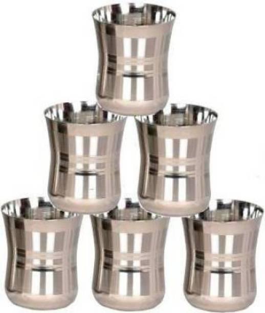 FINGERTIP (Pack of 6) (Pack of 6) D 6 Glass Set (350 ml, Steel) Glass Set