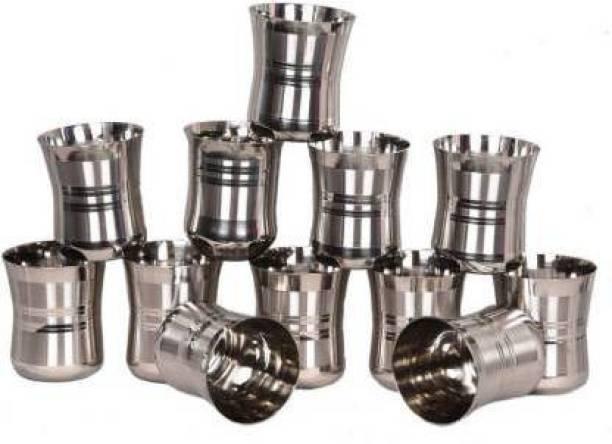 FINGERTIP (Pack of 12) (Pack of 12) Stainless Steel G4-12 Glass Set (350 ml, Steel) Glass Set