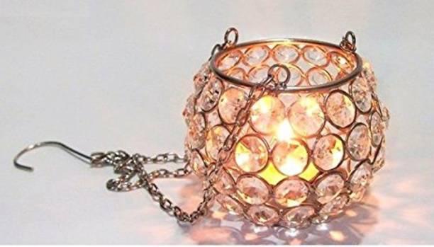 Inspiration World Crystal Hanging Ball Steel Glass Table Lantern