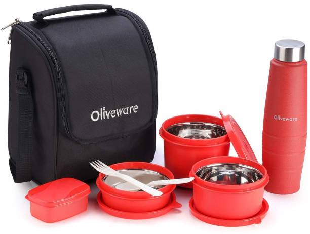 Oliveware Teso Lunch Box - Red with Bottle 3 Stainless Steel Containers, Pickle Boxes, Assorted Insulated Fabric Bag Leak Proof, Microwave Safe Full Meal and Easy to Carry 3 Containers Lunch Box