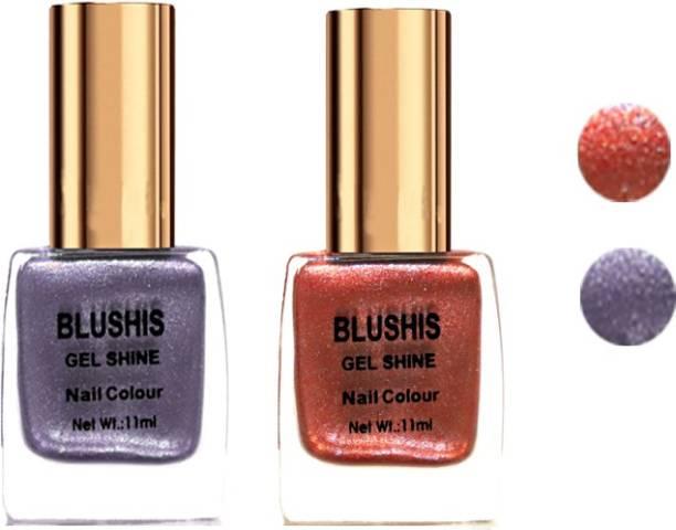 BLUSHIS Gel Shine Nail Colour pack of 2 (Cardinal,Mauve) Cardinal,Mauve