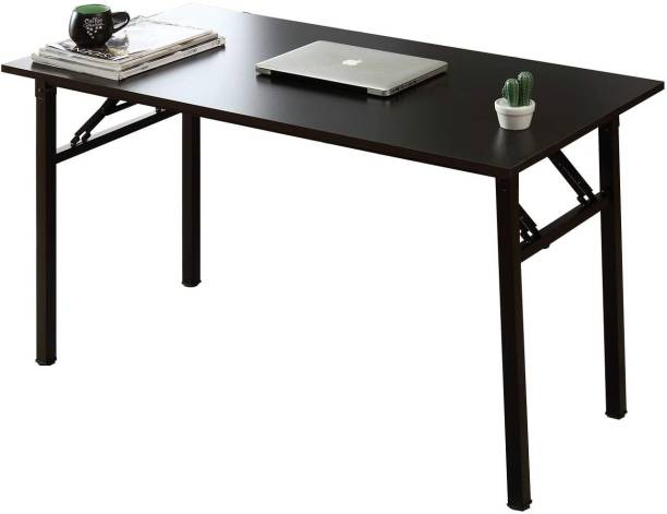 IRIS Folding Computer Desk Home Office Table, Foldable Study Table for Students Writing Desk PC Laptop Gaming Workstation Furniture Table for Living Room Bedroom Solid Wood Office Table
