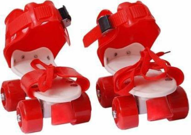 SIDOE Adjustable Multi Color Quad Shoe Roller Skates for Boys and Girls, Inline Skating Shoes Suitable for Age Group 5 to 12 Years (Red) Quad Roller Skates - Size free UK
