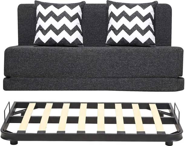 uberlyfe Sofa Cum Bed with Metal Frame - Perfect for Living Room - Jute Fabric Washable Cover & Metal Frame with 2 Cushions(Zigzag Pattern) - Dark Grey | 4' X 6' Feet Double Metal Sofa Bed