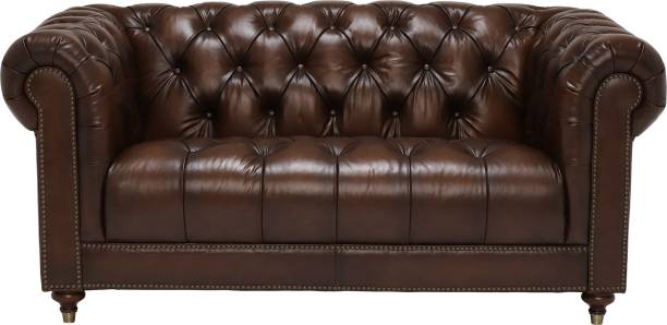 Aart Store PU Leather Sofa 2 Seater Button Tufted Scroll Arms Brown Chesterfield Fome Home & Office Leatherette 2 Seater  Sofa