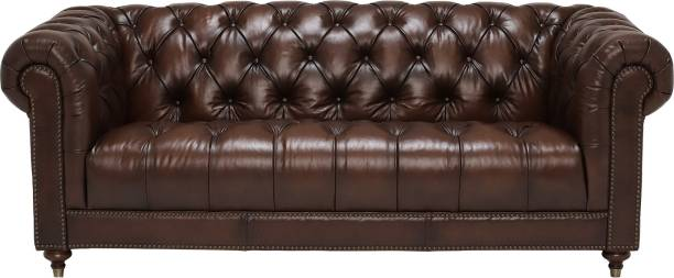 Aart Store PU Leather Sofa 3 Seater Button Tufted Scroll Arms Brown Chesterfield Fome Home & Office Leatherette 3 Seater  Sofa