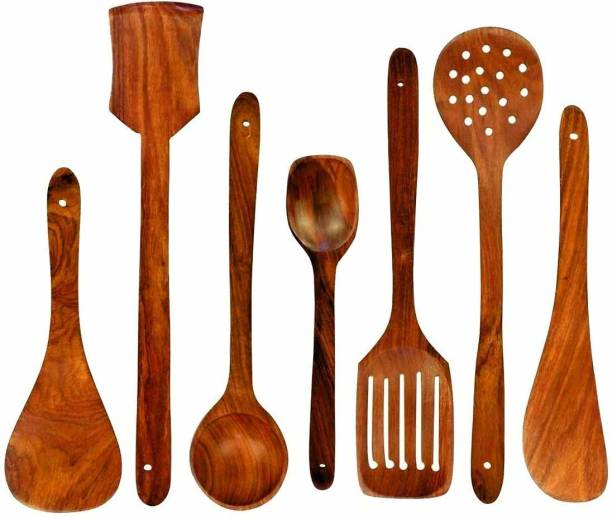 Pranjly Wooden Ladle 07 Sheesham (Rosewood) Natural Cooking Spoons, Ladles, Turning Spatulas Heavy Quality Kitchen Tool Set of 7 Pcs Brown Kitchen Tool Set