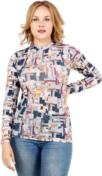 POPWINGS Printed Women Turtle Neck Multicolor T-Shirt
