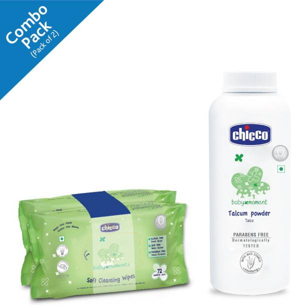 Chicco Baby Moments Soft Cleansing Baby Wipes, Sticker Pack (Pack of 2, 70 Sheets per Pack)and Baby Moments Talcum Powder,(150 g) ( Pack of 2)