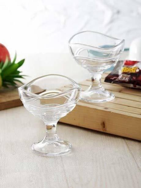 VETMOC Curved Designer Ice Cream Bowls/Dessert Bowl Set of 2 Glass Dessert Bowl (Clear, Pack of 2) Glass Dessert Bowl