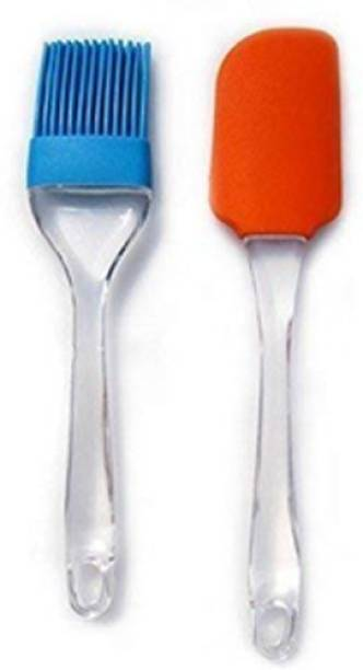 Kaman Up Silicone Non-Stick Spatula and Brush/Cake Pastry Oil Brush Reusable Kitchen Set for Cooking (Set of 2 Small(Multicolour) Silicone Flat Pastry Brush
