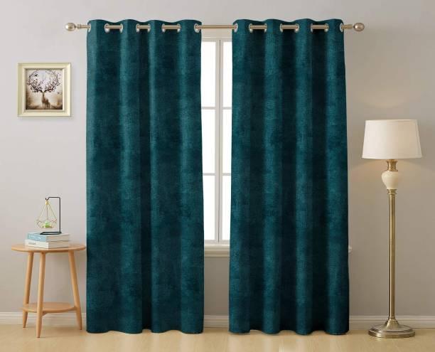 Rayna Decor 274 cm (9 ft) Velvet Long Door Curtain (Pack Of 2)