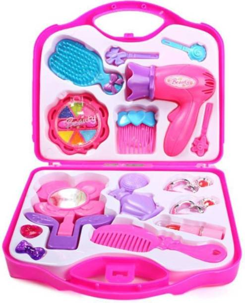 oongly Fashion Girl Beauty Set Makeup Toy with Mirror Hairdryer & Styling Accessories, Girl Toys makeup kit (Pink)