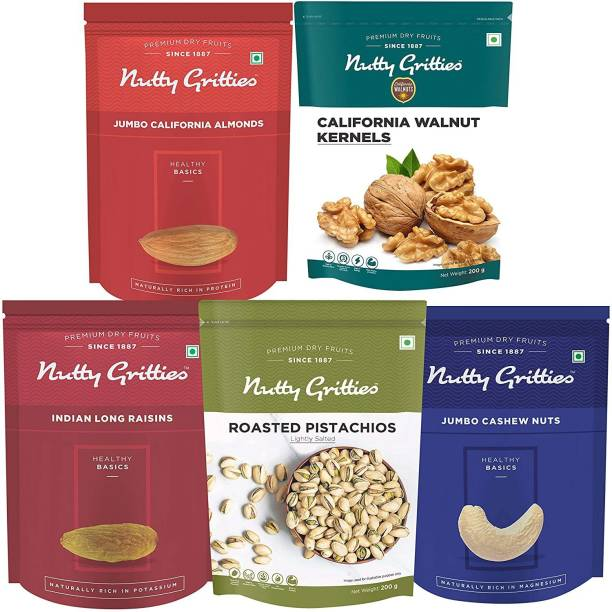 Nutty Gritties Mixed Daily Needs Nuts Dry Fruits - Almonds, Walnuts Kernels, Cashews, R&S Pistachios and Raisins Combo (200g Each) Combo