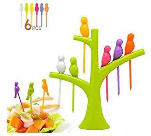 BELLERBIRD Bird Fruit Fork Set with Stand, 6-Pieces, Multicolour/Fancy fruit fork/Plastic fruit Fork Plastic Plastic Fruit Fork