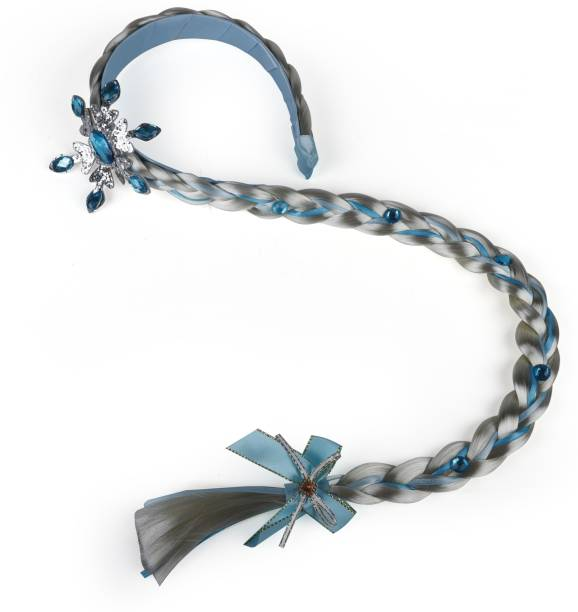 Arendelle Snow Princess Hairband with Snow Flake Charm and Long Plait Extensions [AHA151] Braid Extension