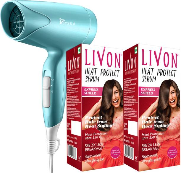LIVON Heat Protect Serum, For Protection Upto 250C, 2X Less Hair Breakage and Syska Hair Dryer