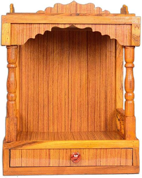 Hydroshell Wooden Plywood Mandir for Pooja Home Decoration Wall Mounten Beautiful Temple (Hight 52 X 42X 26CM) Engineered Wood Home Temple