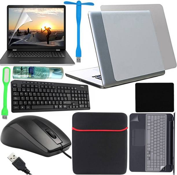 D.V TECH FULL SET OF LAPTOP PROTECTOR 11IN1 SET OF WIRED KEYBOARD AND WIRED MOUSE LAPTOP SCREEN GUARD 15.6 INCH, BACK LAPTOP LAMINATION 14-17 INCH, LAPTOP KEYBOARD PROTECTOR, PALMREST 14-17 INCH AND 15.6 INCH LAPTOP BAG SLEEVE CLEANER MOUSE PAD PACK Combo Set