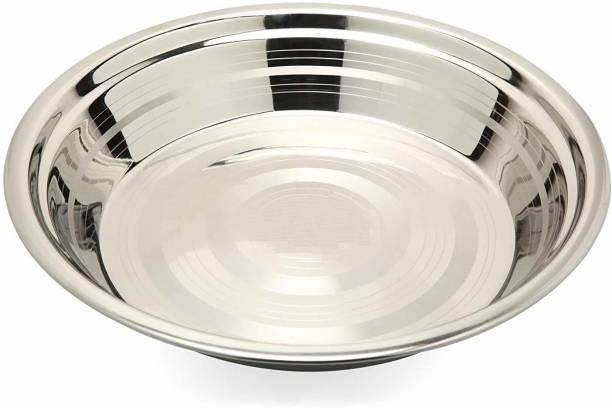 Expressionss Stainless Steel Heavy Atta Parat with Mirror Finish 32 cm Tray