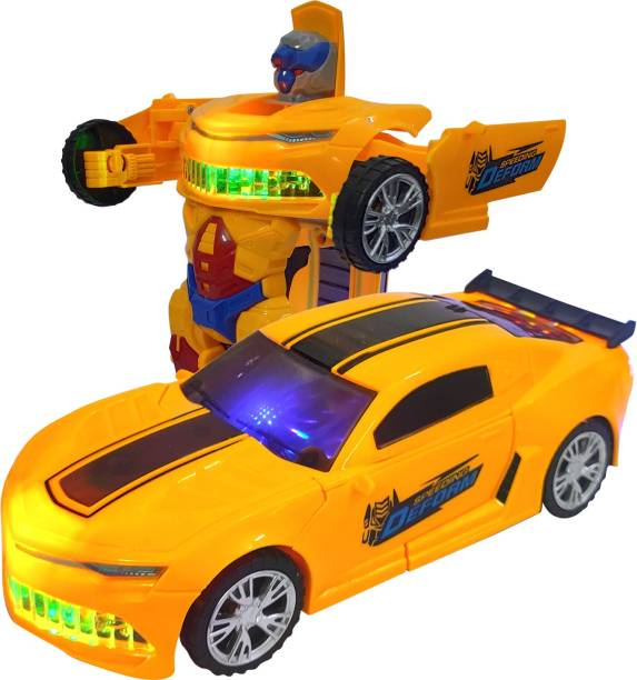 Miss & Chief Transforming Car, Battery Operated Converting Car to Robot, with Light and Sound for Kids (Age 3+)
