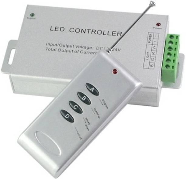 Divinext Aluminium Body 12-24V DC 24 Amp 4-Keys Remote LED Controller for RGB LED Strip Light Dimmer LED Pixel Controller LED Contorller Dimmer Switch