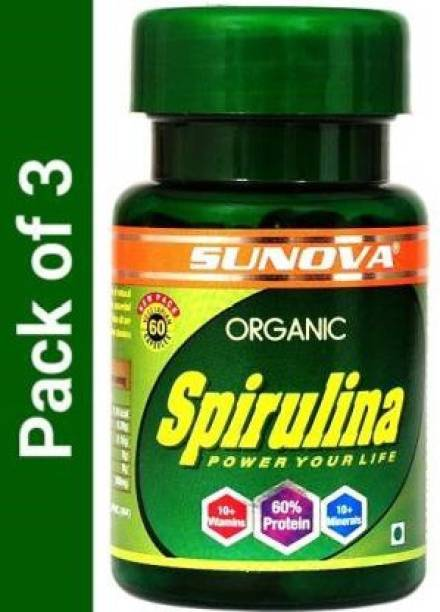 SUNOVA Organic Spirulina Capsule pack of 3