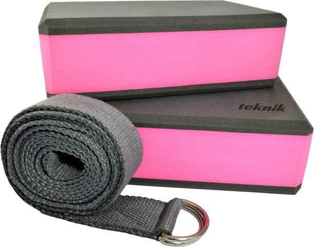 teknik High Stability EVA Foam Yoga Block Brick Set of 2 with Yoga Belt Starter Kit Yoga Blocks