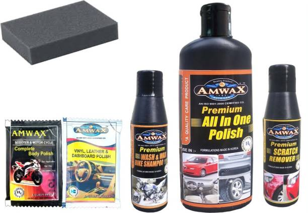 amwax All In One Polish 250 Ml, Wash and Wax 50 Ml, Scratch Remover 50 Ml, Dashboard Polish Pouch 10 Ml x 2 Pc., 1 pc Sponge Combo