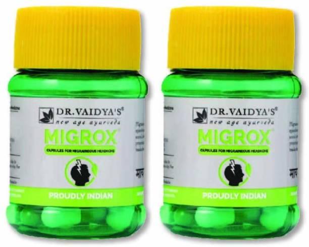 Dr. Vaidya's Migrox Capsules Ayurvedic and Natural Headache & Migraine Medicine - Pack of 2