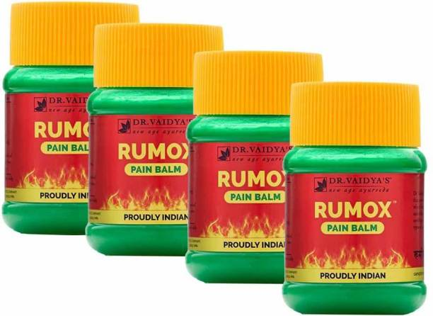Dr. Vaidya's Rumox Pain Relief - Ayurevdic Balm for Join and Pain Relief, Eucalyptus, Menthol and Camphor - Pack of 4