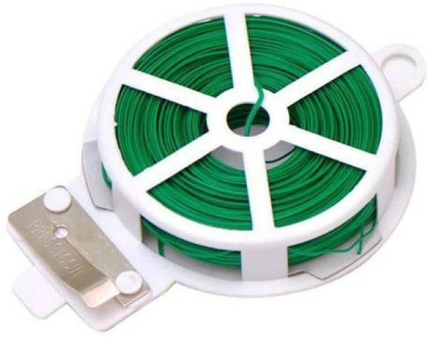 VARNA Generic Plastic Twist Tie Wire Spool with Cutter for Garden Yard Plant 50m (Green) Plastic Standard Cable Tie