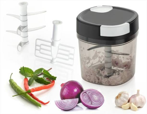 ELIGHTWAY MART Vegetable Chopper (1-6 Extra Sharp Stainless Steel Blade System,1- Whisk Blade ,1-1000 ML Clear Container) Vegetable & Fruit Chopper