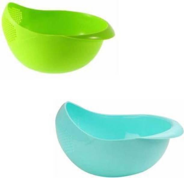 Innovegic Pack of 2 Washing Bowl Strainer- for Rice, Pulses, Fruits & Vegetables Strainer