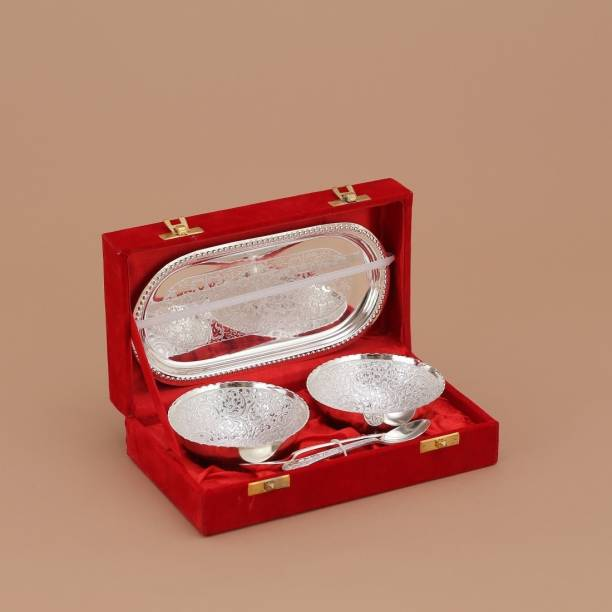 Being Nawab Luxurious Silver(German) Bowl, Tray, Spoon Serving Set