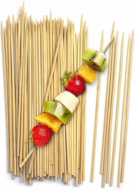 Elegant Casa Wooden Barbecue Sticks Natural Bamboo Skewers BBQ Roast Kabab Grill Chicken Tikka Fruit Salad (160 Sticks, 6 Inch) Disposable Bamboo Salad Fork