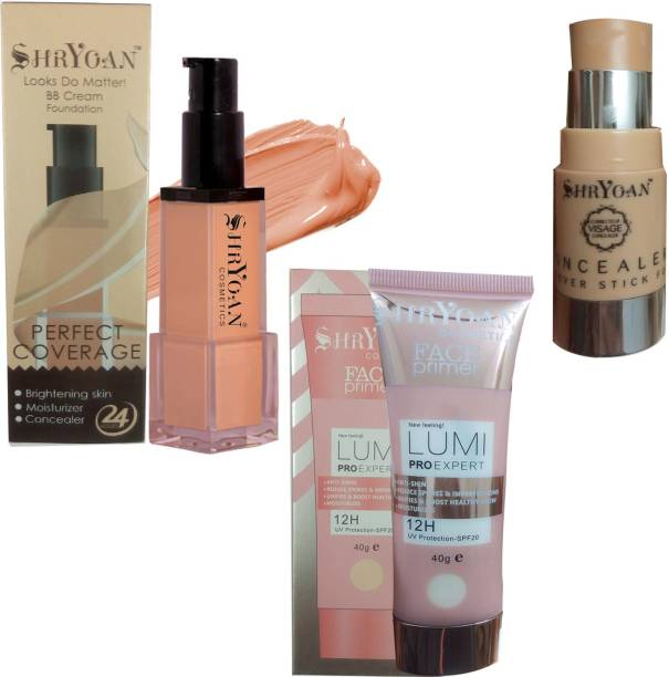 Shryoan 1 BB CREAM 24 HOURS PERFECT COVERAGE FOUNDATION 42 ML + 1 LUMI PRO EXPERT 12 HOUR UV PROTECTION SPF 20 FACE PRIMER 40 GM + 1 VISAGE INVISIBLE COVER STICK CONCEALER Foundation