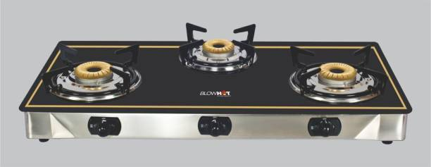 BlowHot Piezo Auto Ignition Heavy Brass 3 Burner Stove | Toughened Glass Cooktop - Stainless Steel Frame Glass, Cast Iron Automatic Gas Stove