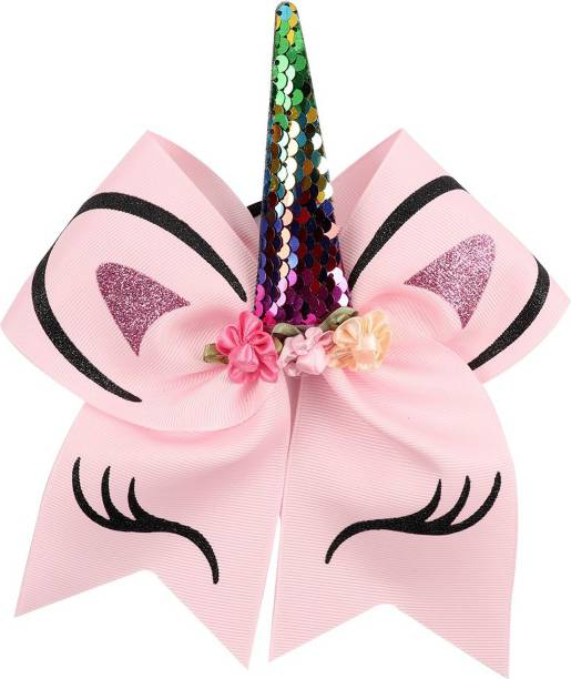 Arendelle Sequence Unicorn Large 7inch Pink Cheer Bow for Young Girls [AHA028] Rubber Band