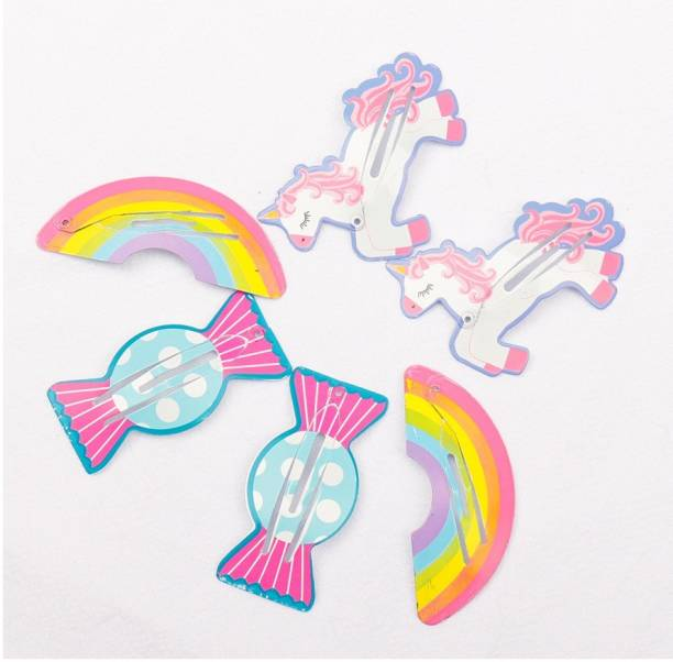 Arendelle 3 Pairs of Unircorn, Rainbow, Toffy Painted Plastic Hair Pin for Girls [AHA015] Tic Tac Clip