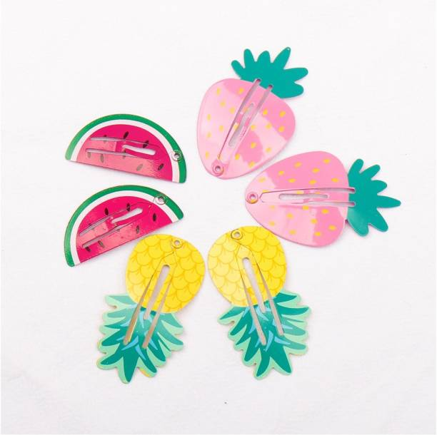 Arendelle 3 Pairs of Watermelon, Strawberry and Pinneable Painted Plastic Hair Pin for Girls [AHA013] Tic Tac Clip