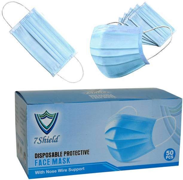7SHIELD CE and ISO Certified 3 Ply Surgical Face Mask with Nose clip and soft ear loops SURGICAL-3PLY Surgical Mask