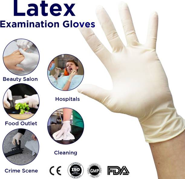 DM SPECIALLY FOR SPECIALIST - QUALITY LATEX GLOVES POWDERED WHITE COLOUR ( 150 Pcs /1 Box ) Small Size Latex Examination Gloves