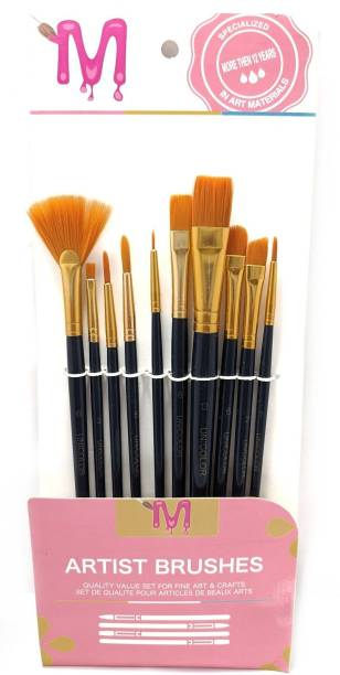 Definite MEI TE Artist Brushes Set of 10 for Professionals Flat brush Dagger Fan Angle Shader