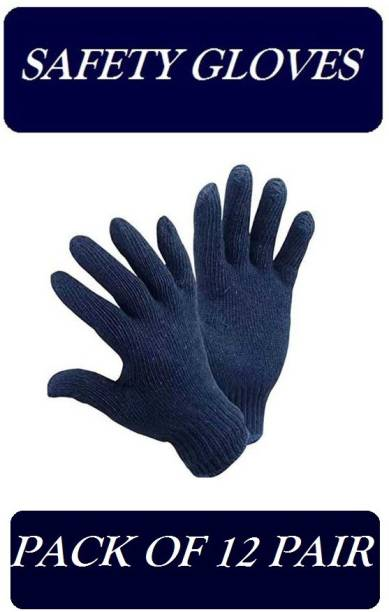 Yiking Cotton Knitted Hand Gloves 12 pair Navy Blue safety hand gloves Kevlar  Safety Gloves
