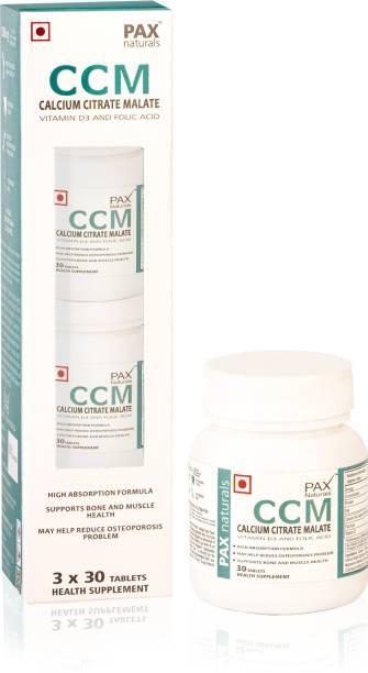 paxnaturals Calcium Citerate Malate Vitamin D3 and Folic Acid Tablets, CCM Supplement