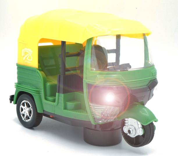 Toy Shack Bump and Go Auto Rickshaw with flashing lights Toy for Boys and Girls
